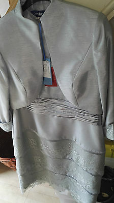 ZEILA DONNA silver Mother of the Bride Formal lace Dress jacket suit Size 18 new