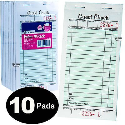"Adams 525SW Guest Check Books, 1 Part, 3-4/10 x 6-3/4"", Pack of 10"