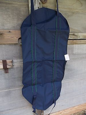 English Saddle  Bag Carrier Without Lining Navy With Hunter Green Piping No Tags