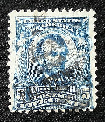 (E54) Philippines American Occupation overprint on 5c Lincoln used hinged NG