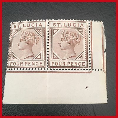 St Lucia 1884-86 Pair of 4d Brown SG34   Pristine Mint