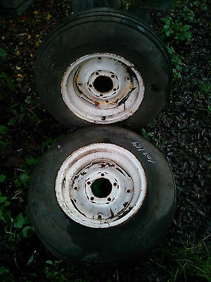 Pair Tractor Front Wheels and Firestone 6.00 x 16 Dunlop Tyres.