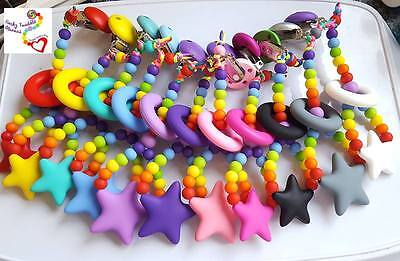 Star rainbow Clip teether Teething toy Pacifier nursing BPA Free Silicone UK
