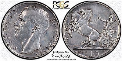 1929R Italian 10 Lire Coin PCGS XF Details