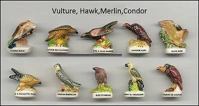 Amazing Miniature Porcelain, Vulture, Hawk, Merlin, Condor Set/10 Figurines Cute