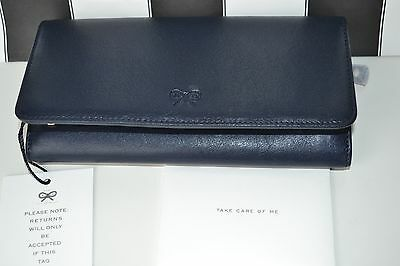 NEW AUTHENTIC ANYA HINDMARCH NAVY Leather Wallet / Purse  Boxed