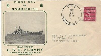 1946 First Day Of Commission USS Albany Heavy Cruiser cover