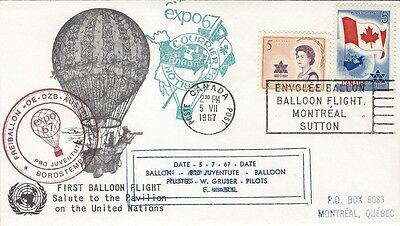 1967 EXPO'67 First Balloon Flight Salute to UN Pavillion cover - numbered