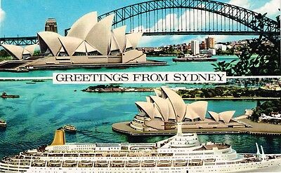 1979 Greeting from Sydney postcard with M.V.Canberra & special cancel