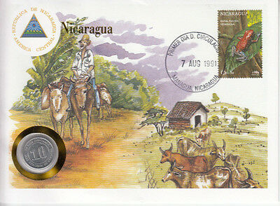 Nicaragua  COVER with COIN in Pristine Condition