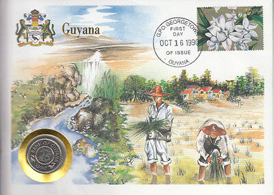 Guyana COVER with COIN in Pristine Condition