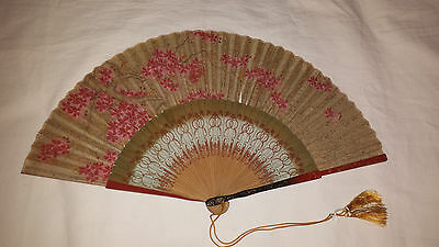 Vintage Handheld Fan - hand painted garland of Apple blossom on wooden sticks