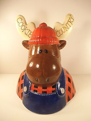 "MOOSE Cookie Jar ""Cookie Country"" Ceramic 12"" Tall ""House of Prill"" Kitchen Deco"