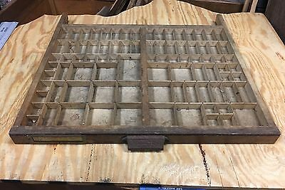Antique HAMILTON Printers Typeset Drawer Tray Wood Letter Press Shadow Box Shelf