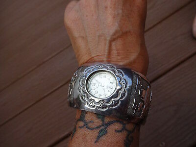 Navajo Womans Cuff Watch Heavy Sterling Silver with Mesa Designs Signed