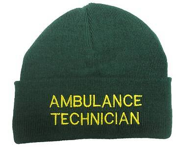 AMBULANCE TECHNICIAN Beanie Woolly Hat (GREEN) for Paramedic St John Medic EMT