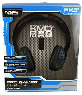 KMD Wired Professional Gaming Headset Mic For Sony PlayStation4 Black Large NEW