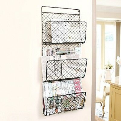 Wall Mounted Storage Rack Newspaper Mail Magazine Letters Store Organizer Door