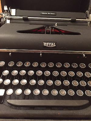 Vintage Royal Quiet Deluxe Typewriter Glass Keys Needs Repair With Case