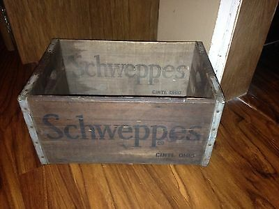 Antique 60's Schweppes Wooden Soda Alcohol Advertising Crate Very Nice