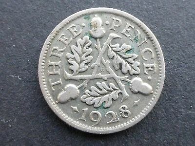 George v silver Threepence coin 1928 key date good filler