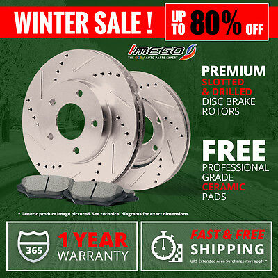 Front Kit | Slotted & Drilled Disc Brake Rotors and FREE Ceramic Pads