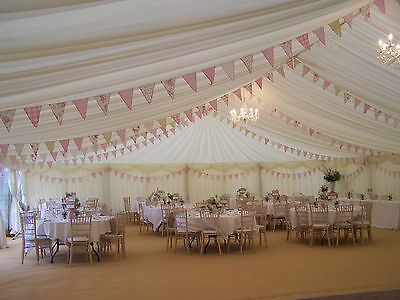 50m of vintage style fabric wedding marquee/hall /party bunting. Pinks