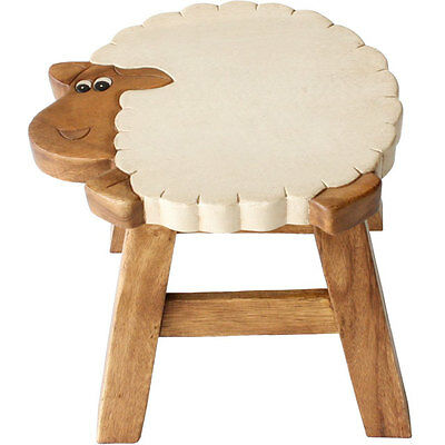 Solid Wood  Child's Stool / Wooden Step - Hand Painted - Lamb / Sheep
