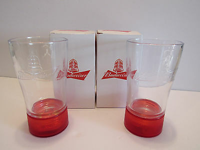 2 Budweiser Collectible RED LIGHT Goal Synced Glasses Cup Lights Up Every Goal