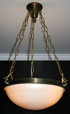 Antique Steuben acid etched calcite art deco light fixture ceiling chandelier