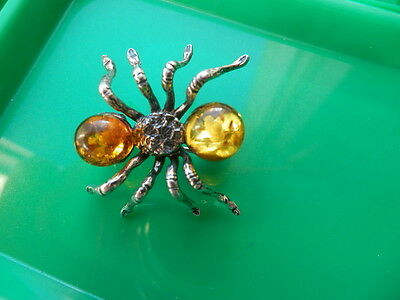 Baltic Amber 925 Silver Spider Brooch Jewellery
