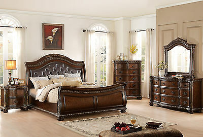 MORAGA - 5pcs Old World Queen Tufted Faux Leather Sleigh Bedroom Set Furniture