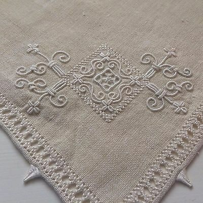 3 Antique Cutwork + Candlewick Embroidered Ecru Linen Table Scarves or Napkins