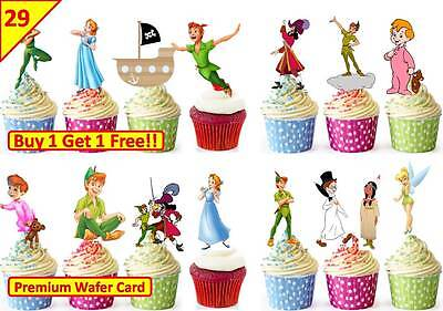 58 Peter Pan Cup Cake Edible Wafer Toppers Birthday Party Decorations Stand up
