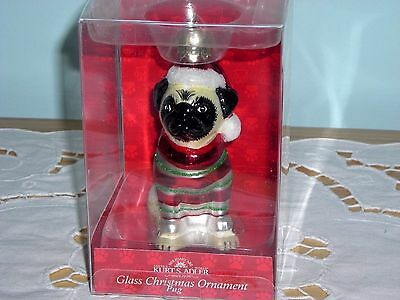 New In Pkg ~ Fawn Pug Dog Blown Glass Christmas Ornament ~ With Santa Hat