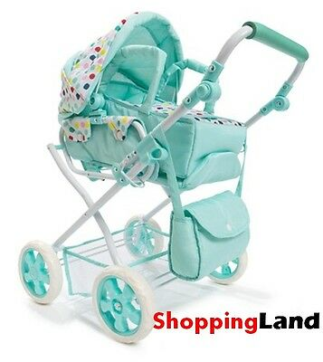 Girls Pretend Doll Pram Stroller Deluxe Baby Carriage Play Baby Carrier & Bag