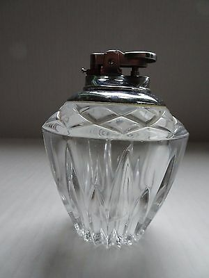 Vintage  Lead Crystal Glass Cigarette Table Lighter