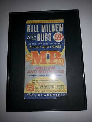 """Vintage Pest Control Ad Kills Mildew And Bugs Very Cool Package Ad ! 3"""" By 5 1/2"""