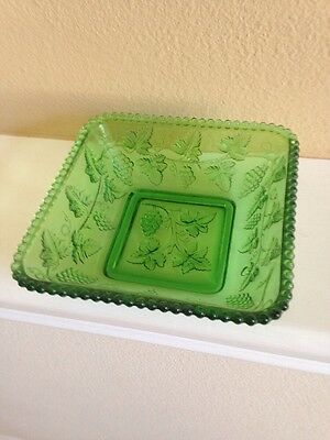 Green Glass Vintage Candy Dish