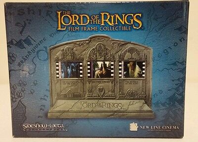 LORD OF THE RINGS Film Frame Collectible 3 Unique Film Cells Sideshow-Weta - NIB
