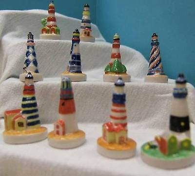 Amazing Miniature Porcelain Set Of 10 Colorful Lighthouse Collection, 2004