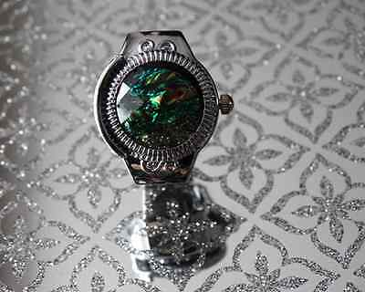 Adjustable Green Glittery Cover Quartz Finger Ring Watch Gift for Kids and Women