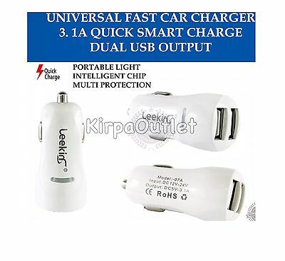 3.1A Dual USB Car Charger 2 Port Universal Fast Charging For iPhone and Android