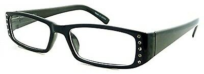 ITALY Design Fashion Rx Women Rectangular Frame Clear Lens Eye Glasses BLACK