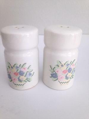 Vintage White Ceramic Pastel Floral Flowers Basket Salt & Pepper Shakers 3.5""