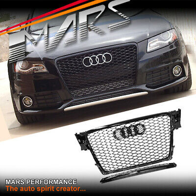 Gloss Black Honeycomb RS4 Style Front Bumper Grille Grill for AUDI A4 8P 09-11