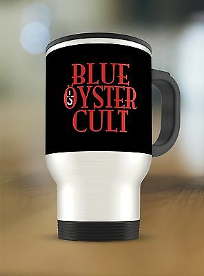 Blue Öyster Cult band logo on Travel Mug Thermos Tumbler Stainless Steel 15oz