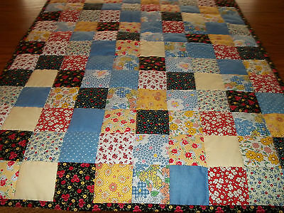 "Bed /Table Runner, New, Handcrafted & Hand Quilted, 25"" x 68"", 30's Prints"