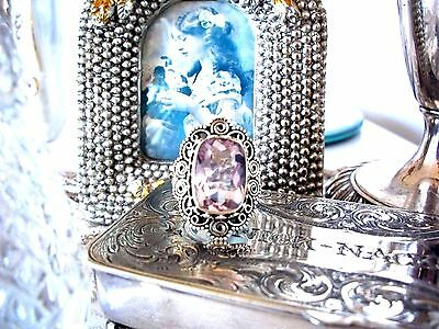 Stunning 8Ct  Natural Kunzite Victorian Style Ring ~ Sterling Silver Stamped 925