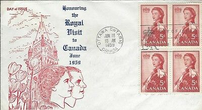 1959 #386 Royal Visit FDC with unusual cachet